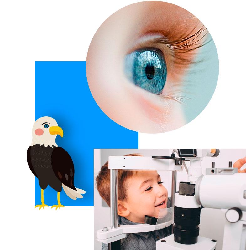 Fröhliche Kinder bei der Untersuchung in der kinderfreundlichen Praxis des AugenCentrums in Bayreuth und in Pegnitz