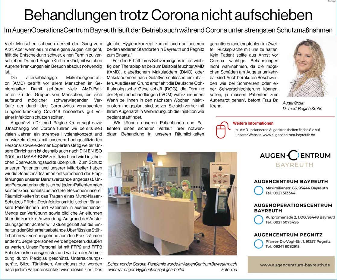 Zeitungsartikel AugenCentrum Bayreuth